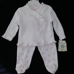NWT Little Me Baby Girl s 3Pc Pants Outfit Set -White Gray Pink ... 0c6b98a99636