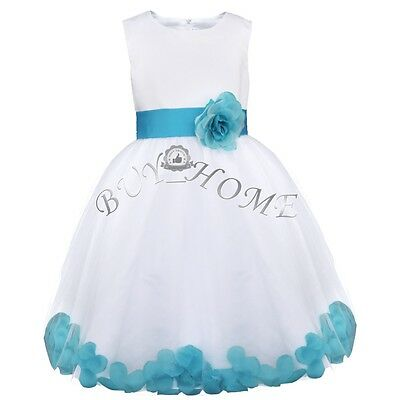 Flower Girl Princess Pageant Wedding Bridesmaid Party Formal Petal Dress 2-14Yrs
