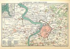 Historische Stadtkarte 1894: Antwerpen und Umgegend. Stadtplan Belgien (B14)