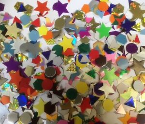250 x CRAFT CARD SHAPES GUMMED AND NON GUMMED, METALIC, COLOURED & PEARL COLOUR
