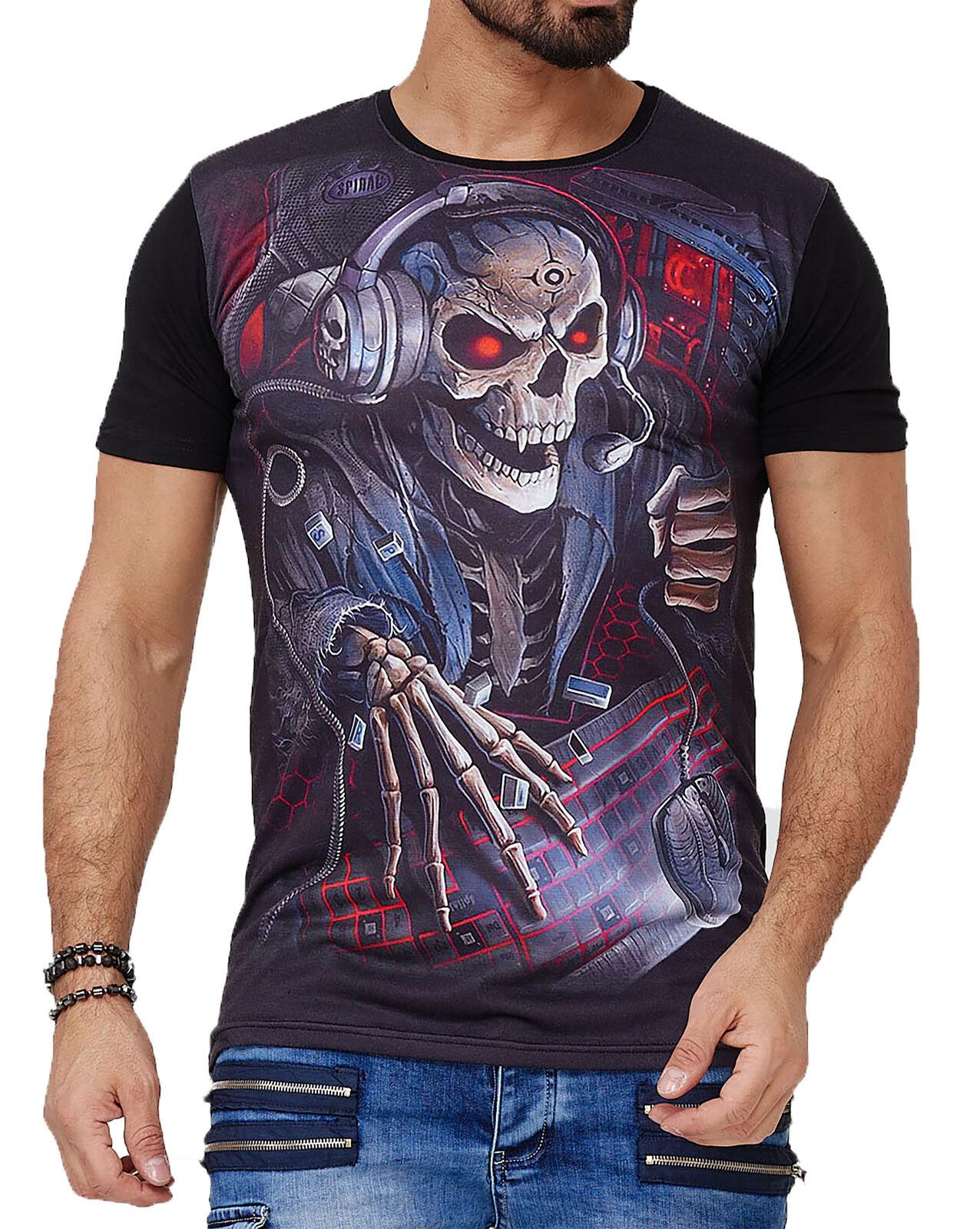 Herren T-Shirt Skull design Totenkopf Kurzarm Shirt Rundhals TS-1584C John Kayna