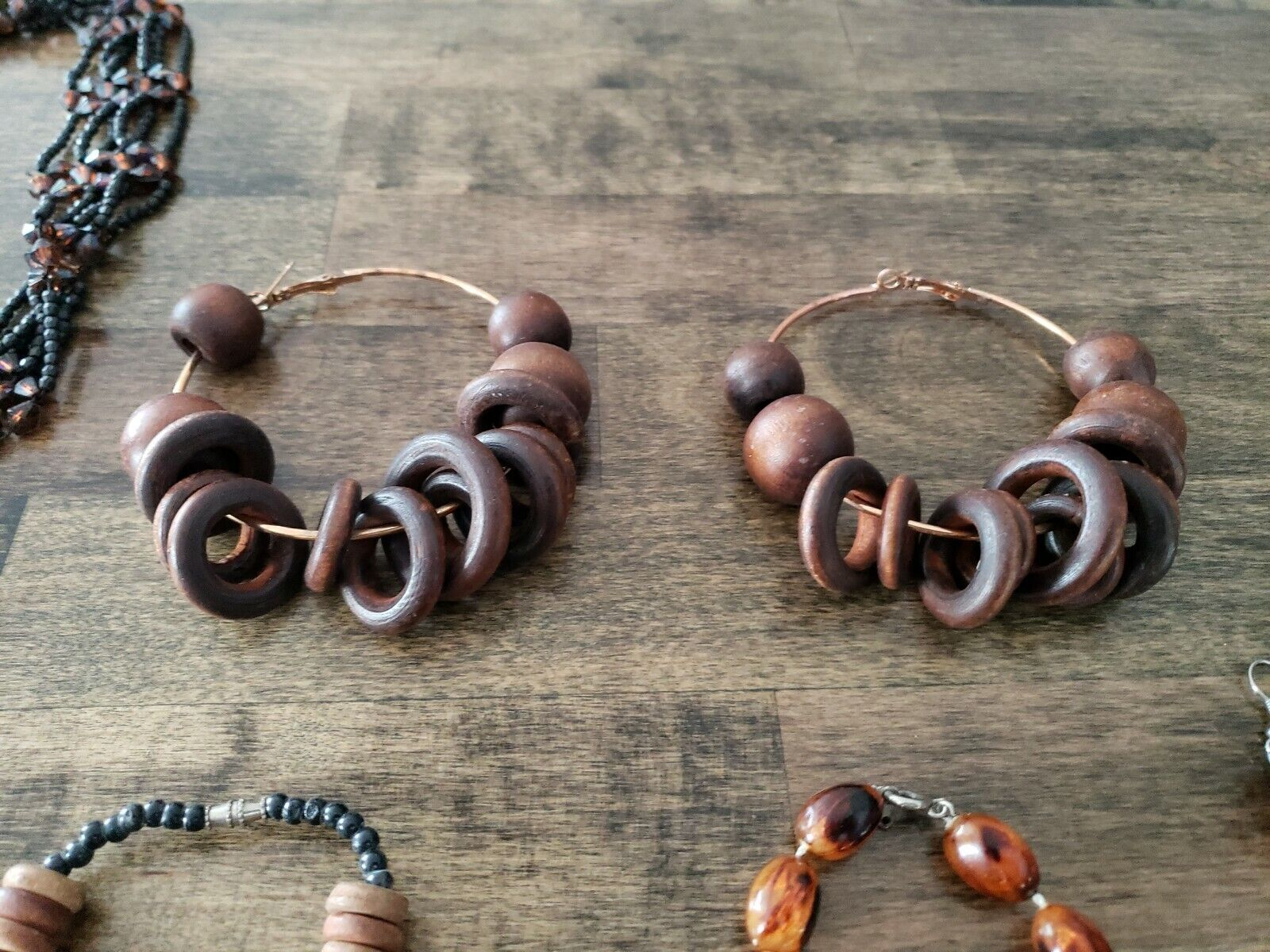 Costume Jewelry Lot Brown Necklace Bracelet Earin… - image 5