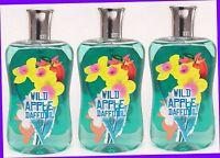 3 Bath & Body Works Wild Apple Daffodil Body Wash Shower Gel 10 Oz Bottle