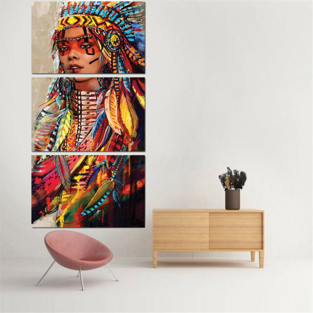 3Pcs Modern Oil Painting Art Canvas Print Wall Home Decor Unframed Indian Woman