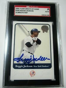 Details About 2001 Fleer Greats Of Game 104 Reggie Jackson Autographed Baseball Card Graded