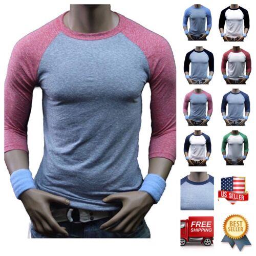 Blend Casual Slim Fit Crew Neck Hipster Gym Men 3//4 Sleeve Baseball T-Shirt Tri