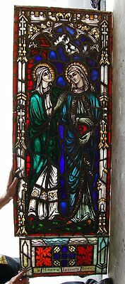 "+ Nice Older Figural Stained Glass Window #7 + ""The 2 Mary's"" + 64"" x 23"" +"