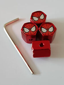 SPIDERMAN-RED-ANTI-THEFT-DUST-VALVE-CAPS-ALL-CAR-MODELS-RETAIL-PACKED-FIAT-AUDI