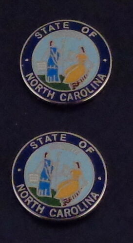 """2 North Carolina COLLAR//LAPEL PINS Silver state seal Police//Fire//EMS 11//16/"""" NC"""