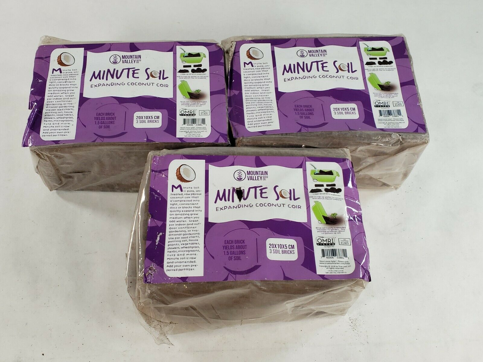 Lot Of 3 Minute Soil Compressed Coco Coir Fiber Grow Medium 3 Bricks Pack