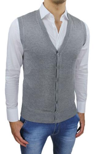 Ärmellos Herren Class Winter Grau Elegant Casual Pullover Strickjacke Neu