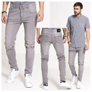 Mens Jeans Brave Soul Skinny Fit Denim Pants Distressed Grey Ripped Knee Jeans Ebay