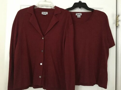 Ladies' Twin Hill Burgundy Jacket and Top Twin Set