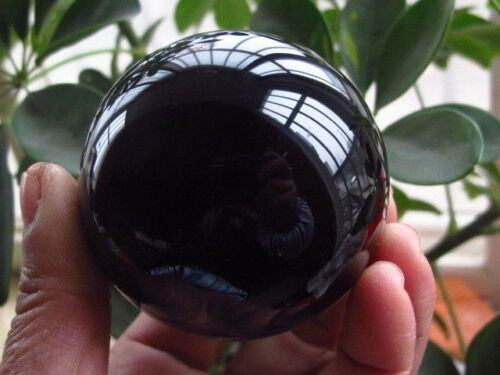 STAND/&5 Details about  /New OBSIDIAN POLISHED BLACK CRYSTAL SPHERE BALL 40MM