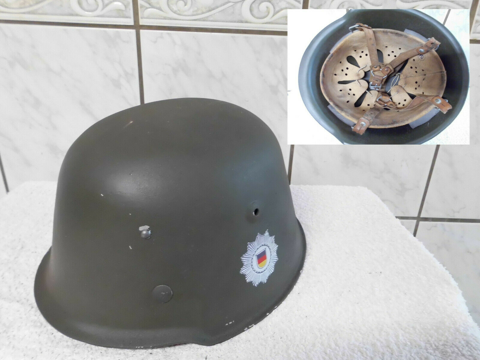 Bild 1 - DDR NVA KVP MDI M54 Kesslerbombe Helm als Sammleranfertigung k. Stahlhelm Unikat