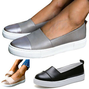Womens-Patchwork-Slip-On-Flat-Round-Toe-Sneaker-Shoes-Pumps-Casual-Loafers-Size