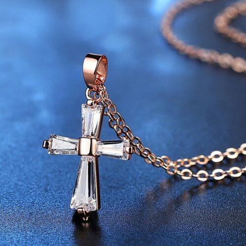 Charm Women Jewellery Wedding Bridal Crystal CZ Rose Gold Cross Pendant Necklace