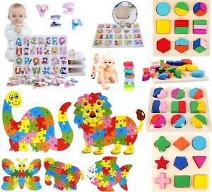 Enfants-Bebe-en-Bois-Bois-Animal-Puzzle-Chiffres-Alphabet-Apprentissage-Jouet-Educatif-UK