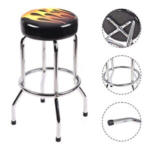 Modern 29 Quot Counter Height Flame Bar Stool Round Padded