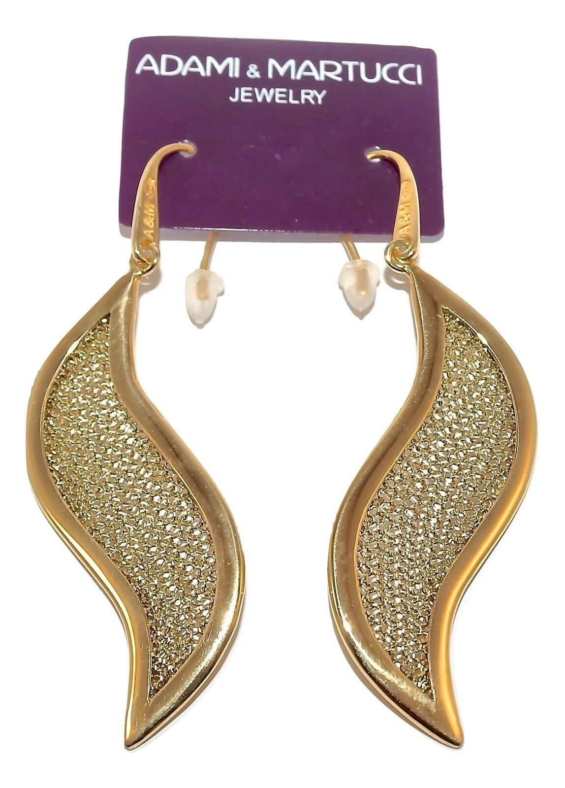 Adami & Martucci Leaf-Shape gold Mesh Earrings in Yellow gold Plating-RRP  135