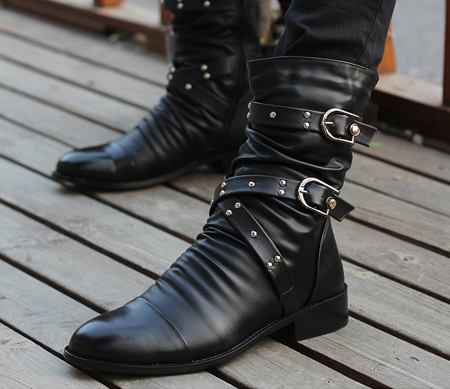 Black Fashion Punk Pleated Mens Rivets Buckles Pointy Toe Ankle Boots Shoes Size