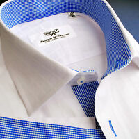 Mens Business Shirt White Luxury Fade Plaids & Checks Clothing Medium Size 41 M
