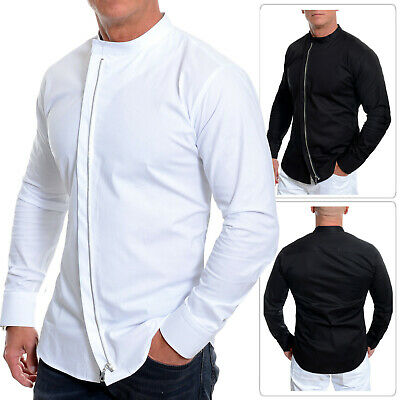 Men's Asymmetric Shirt Grandad Collar Long Sleeve Metal Zip Coton Slim Fit M-3xl
