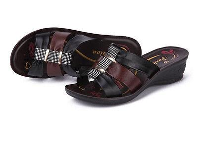 Women's shoes Womens Casual Sandals BLACK Heels Leather FLIP FLOPS