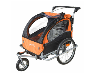 Baby Diego 2-in-1 Kids Bike Trailer Carriage & Jogger Stroller, in orange