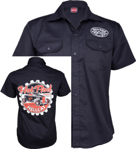 Hotrod Hellcat Speed Trials Camicia Oldschool Workershirt Rockabilly