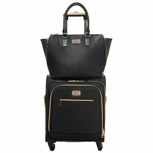 0360607e3 Sandy Lisa Malibu Black/Gold Carry On Suitcase & Milan Wing Tote ...