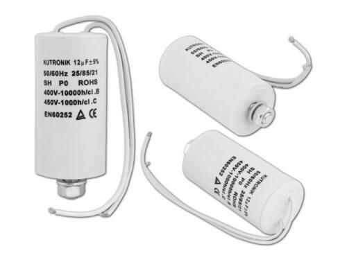 Kondensator 12uF 450VAC  Motorkondensator Anlaufkondensator Kabel