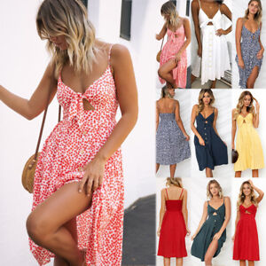 Women-Floral-Bohemian-Spaghetti-Strap-Button-Down-Swing-Midi-Dress-with-Pockets