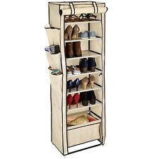 Armoire étagères à chaussures placard 6 niveaux + panier suspendu housse beige