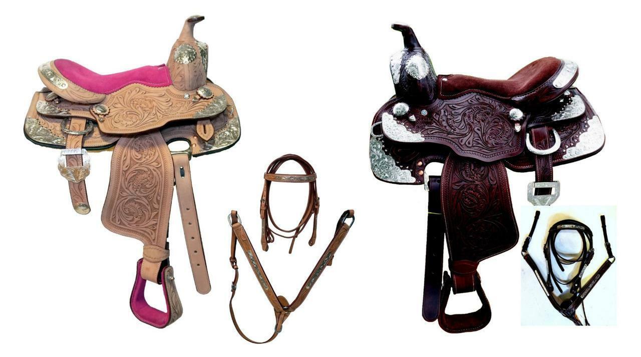 10  Marrón Natural Ro Completo Plata Western Show Mini Pony Niño Silla HSBP Bit-5pc