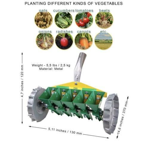 Metal Precision Manual Garden Home Seeder Hand Row Steel Vegetable Seeds 5 Row