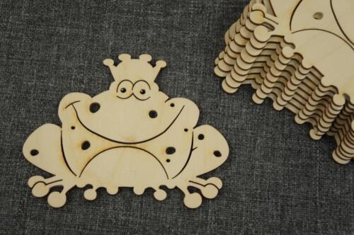 3x Frosch Holz Tier König Krone Deko Basteln Wedding Decoupage //Y23//