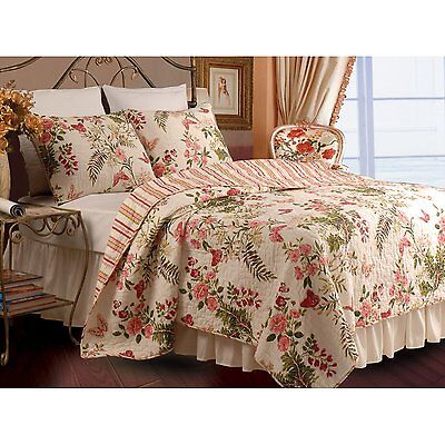 BEAUTIFUL ROSE VINE FLORAL ANTIQUE RED GREEN PINK IVORY QUILT  FULL QUEEN SZ