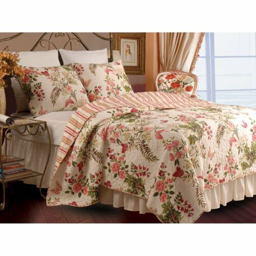 BEAUTIFUL ROSE VINE FLORAL ANTIQUE GREEN RED PINK IVORY QUILT  SET KING & QUEEN