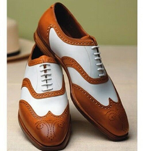 Hecho a mano para hombres de moda Zapatos de punta del ala formal de dos tonos, zapatos para hombres formales espectador