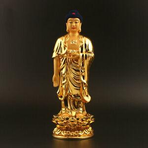 20cm-China-Tibetan-Buddhism-Resin-Gild-Amitabha-Tathagata-Stand-Buddha-Statue