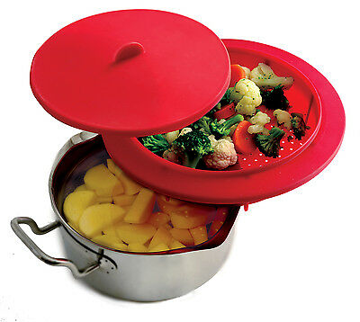 Norpro 206 Silicone Steamer With Lid for Top Of The Pot while cooking below