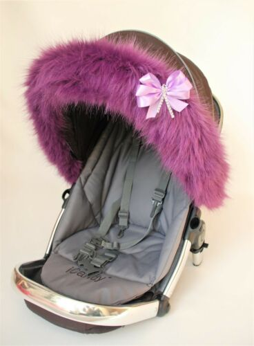 Pushchair pram  hood trim faux fur luxury  Icandy Strawberry Universal fit