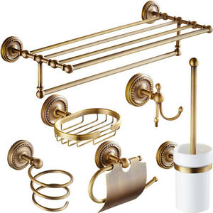 Antique Brass Bathroom Accessories Set Towel Rack Toilet Paper Box