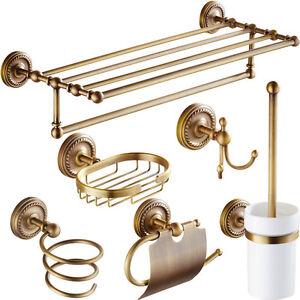 Antique Brass Bathroom Accessories Robe Hook-Paper Holder-Towel Bar Towel Ring S