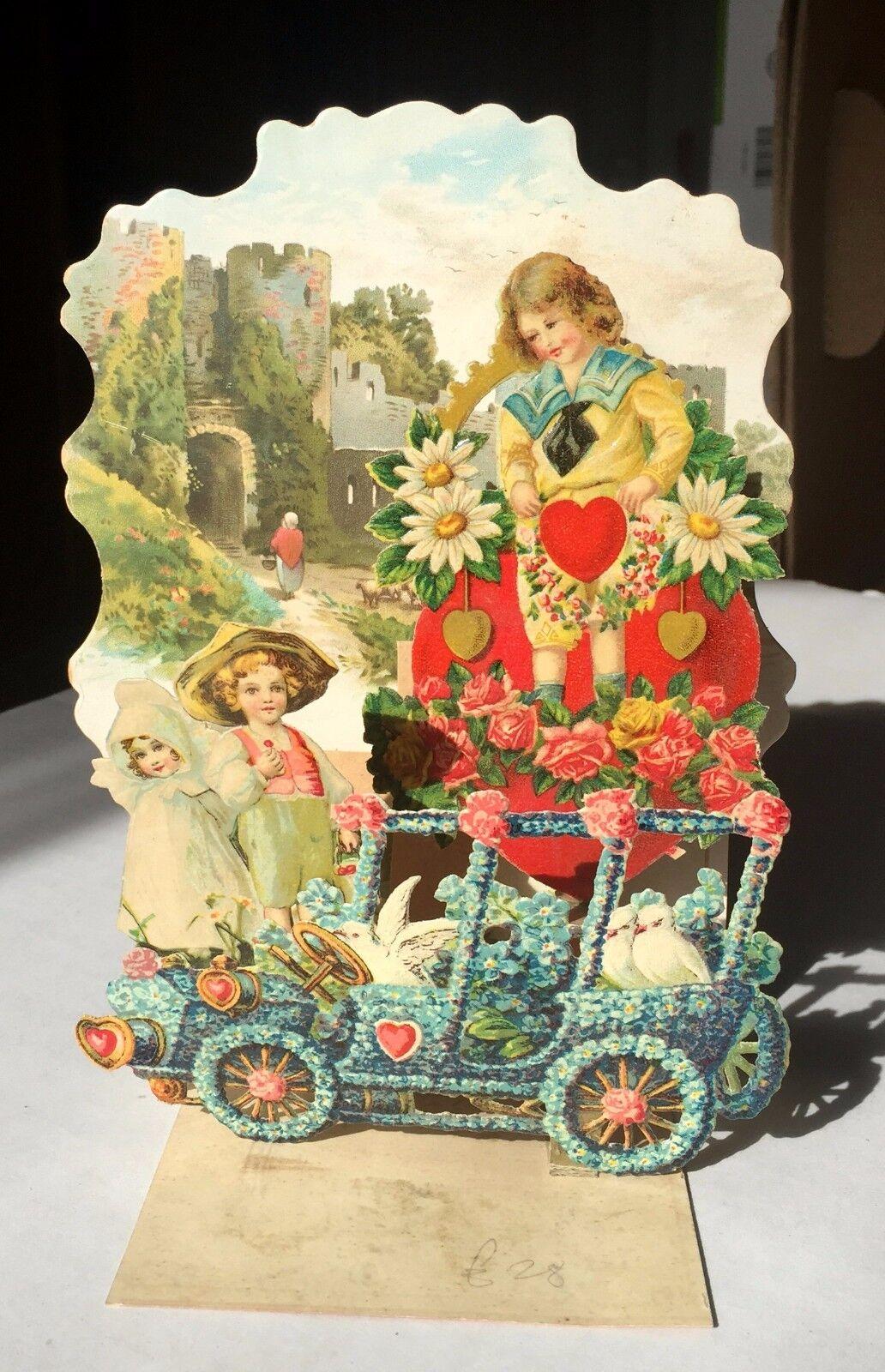 Vintage 1900-10 S Pull Down 3-D avec nid d'abeille St Valentin carte colombes en voiture