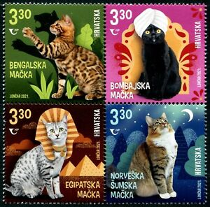 CROATIA 2021 PET CATS BLOCK COMP. SET OF 4 STAMPS IN MINT MNH UNUSED CONDITION