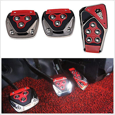 3Pcs Red Non-Slip Foot Pedals Pads Covers Firm Grip Set For Manual Car Universal