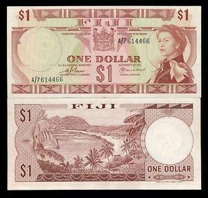Fiji-1-Dollar-ND-1974-QEII-P-71a-AU-Note