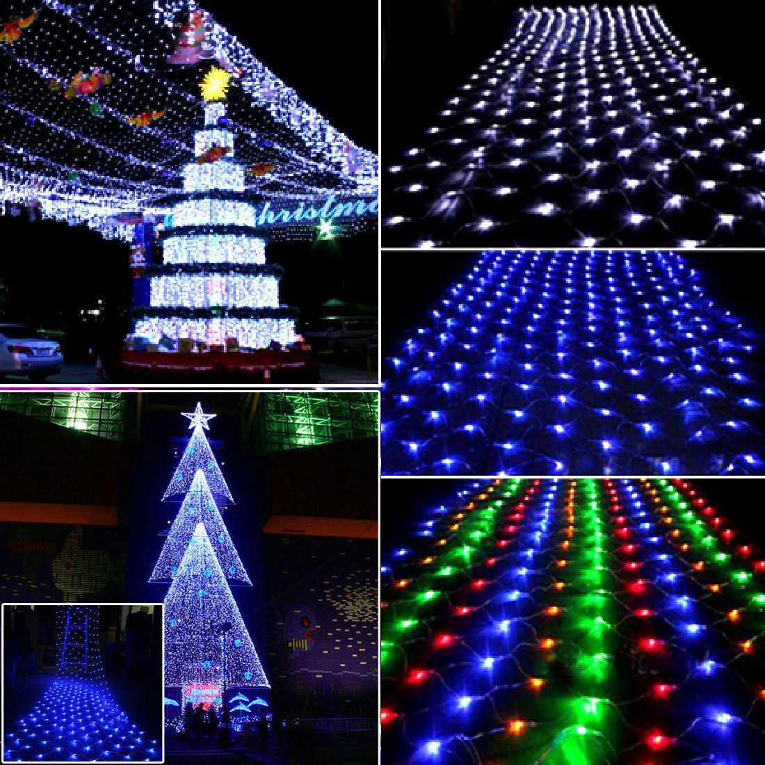 96 200 led christmas net mesh fairy string lights party. Black Bedroom Furniture Sets. Home Design Ideas